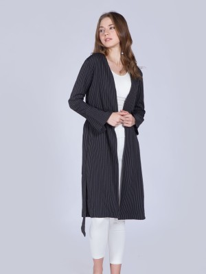 Stripes Waist-Tie Long Outer