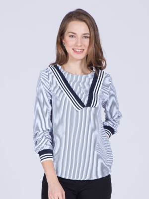 Long Sleeves V Stripes Top