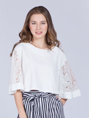 Brocade Bell Sleeves Crop Top