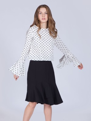Polkadot Flare Sleeves Top