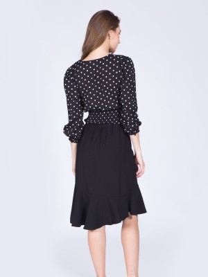 Long Sleeves Polkadot Wrap Top