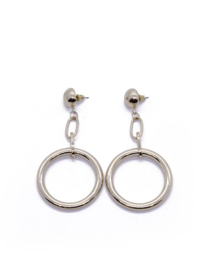 Round Chain-Dropped Earrings