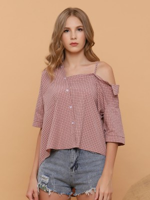 One Off Shoulder Checked Shirt