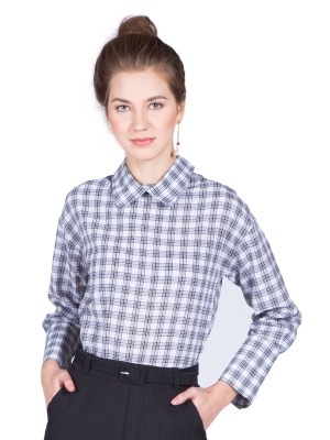High Collar Long Sleeves Checkered Top