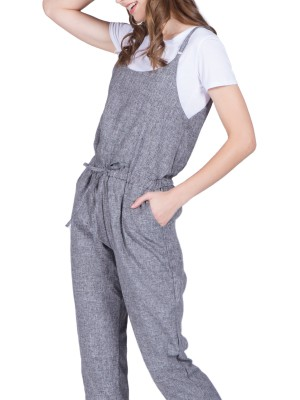Drawstring Adjustable Straps Jumpsuits
