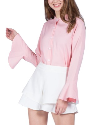 Flare Long Sleeves With Tie-Up Shirt