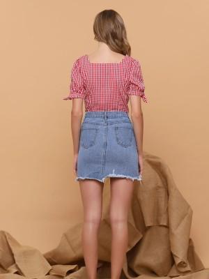 Flower Embroidered Mini Denim Skirt