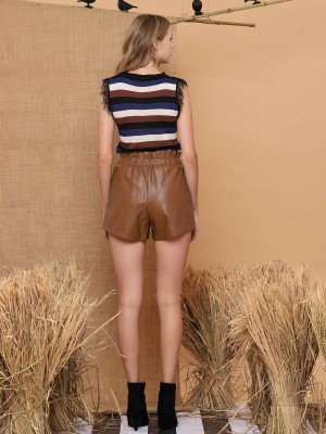 Pull-Waist Faux-Leather Shorts