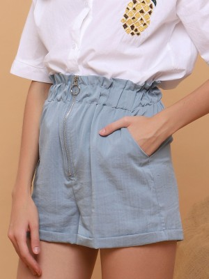 Front Zipper High Waisted Shorts
