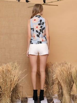 Flower Printed Sleeveless Shirt