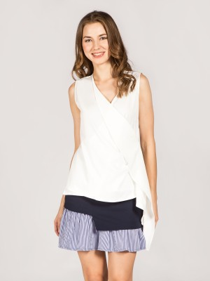 Sleeveless Wrap Side Frill Top
