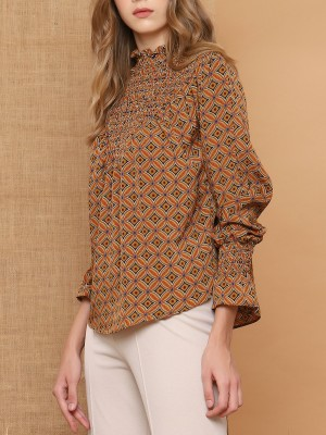 High Neck Smock Aztec Printed Top