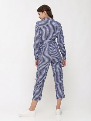 Waist-Tie Long Sleeves Stripes Jumpsuit