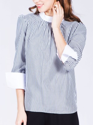 High Neck Long Sleeve Stripes Top