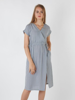 Cross Neck Gingham Dress