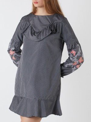 Flower Embroidery Sleeves Stripes Dress