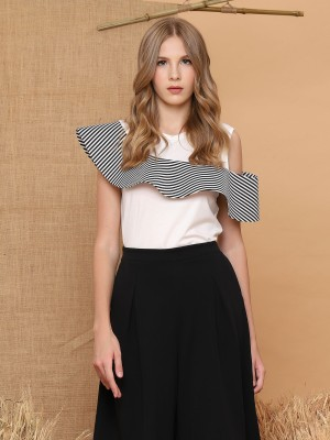 Stripes-Ruffle Sleeveless Top