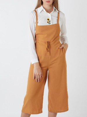 Drawstring Dungaree Jumpsuits