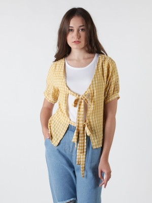 Back-Tied Gingham Top