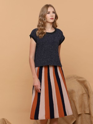 Flare Stripes Knitted Skirt