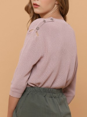 Buttoned-Shoulder Knitted Top