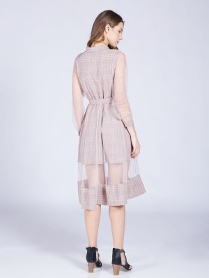 Checkered Waist-Tie Tulle Dress