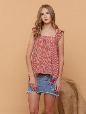 Gingham Ruffle Sleeveless Top