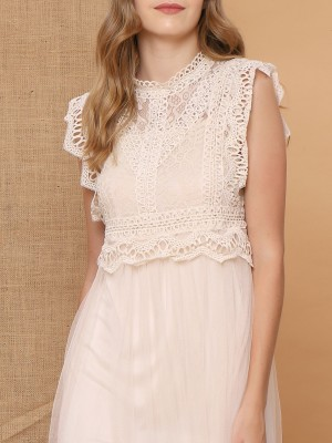 Full Lace Embroidered Tulle Dress