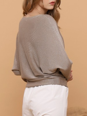 Boat Neck Metallic Top