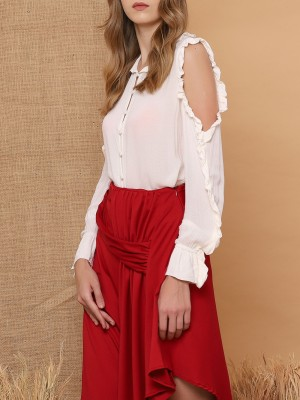 Cold Shoulder Button Frill Top
