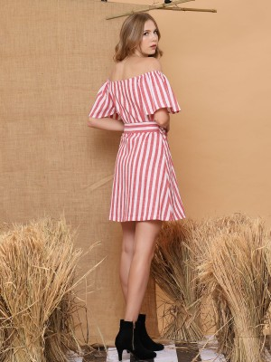 Peasant Waist Tie Stripe Dress