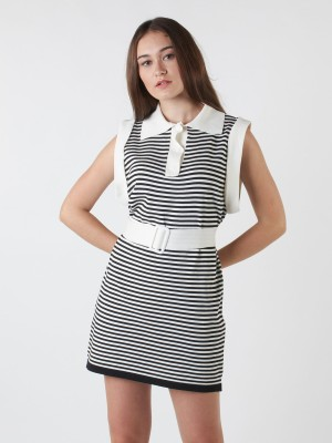 Sleeveless Knitted Stripes Dress