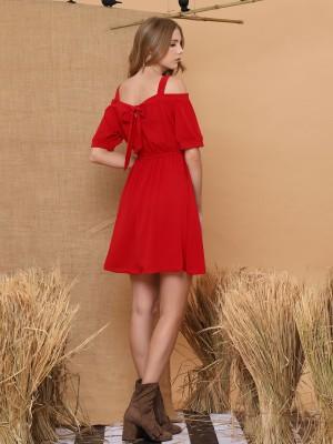 Off Shoulder Tied Mini Dress