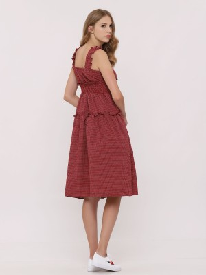 Red Gingham Smock Dress