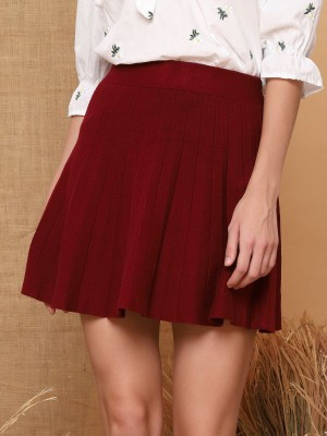 Pleated A Line Mini Knitted Skirt
