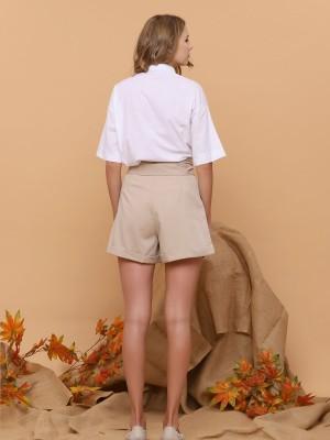 Blazer Sleeves Waist-Tie Shorts