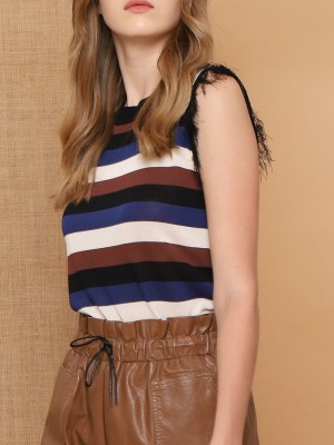 Colourful Stripes Sleeveles Fringe Knitted Top