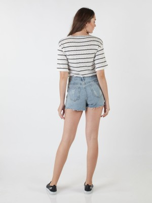 3/4 Sleeves Knitted Stripes Top