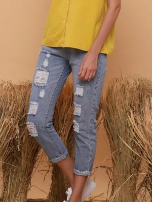 Ripped Folded Bottom Jeans