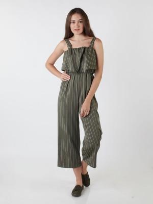Buckle Straps Stripes Jumpsuit