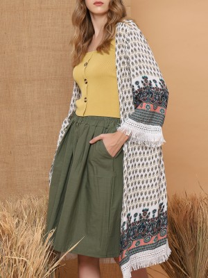 Fringe-End Ethnic Printed Open Long Cardigan
