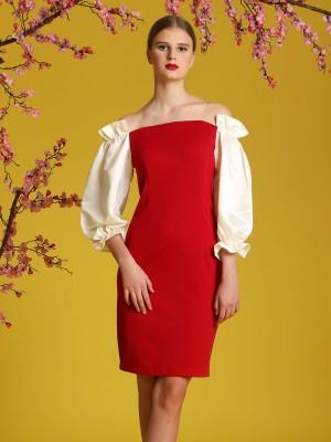 Frill Off-Shoulder Two Tones Dress