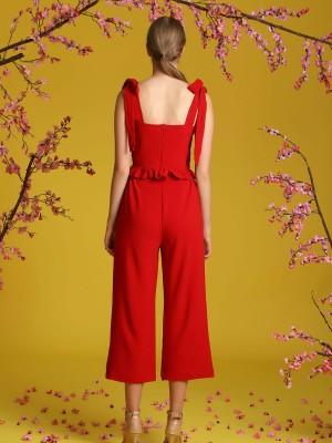 2-Pieces Set Shoulder Tie Top And Long Pants