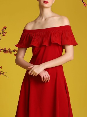 Pleats Off-Shoulder Dress
