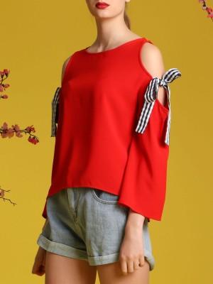 Gingham-Tie Drop Shoulder Top