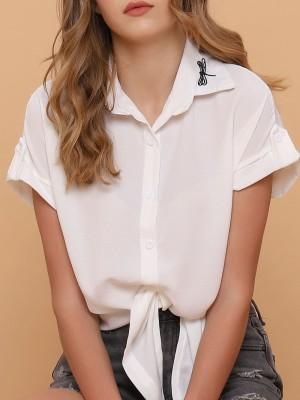 Dragon Fly Collar Embroidered Shirt