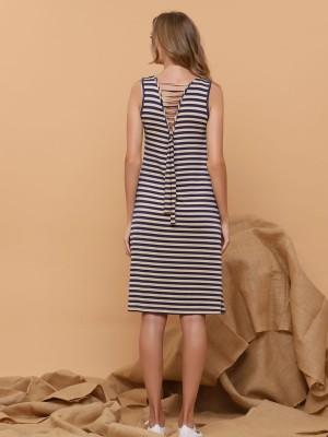 Stripes Sleeveless Dress Best Buy