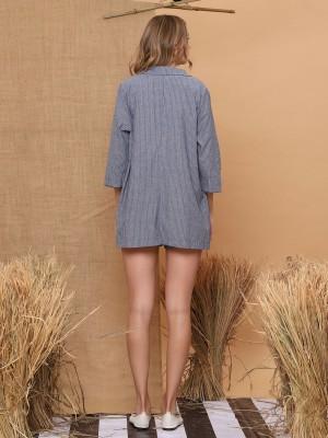 2 Pieces Stripes Blazer And Shorts