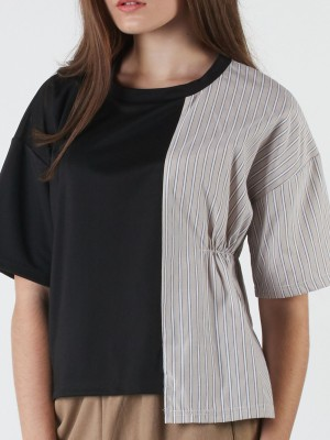 Two Tones Stripes Sleeves Long Sleeveles Top
