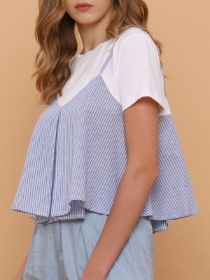 Doubled-Alike Two Tones Stripes Top